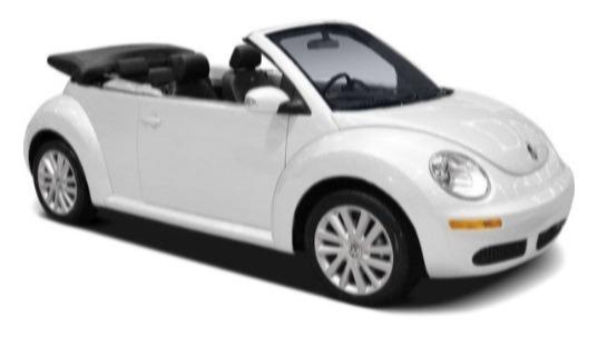 VW NewBeetle cabrio s piknikovým košem plným jídla